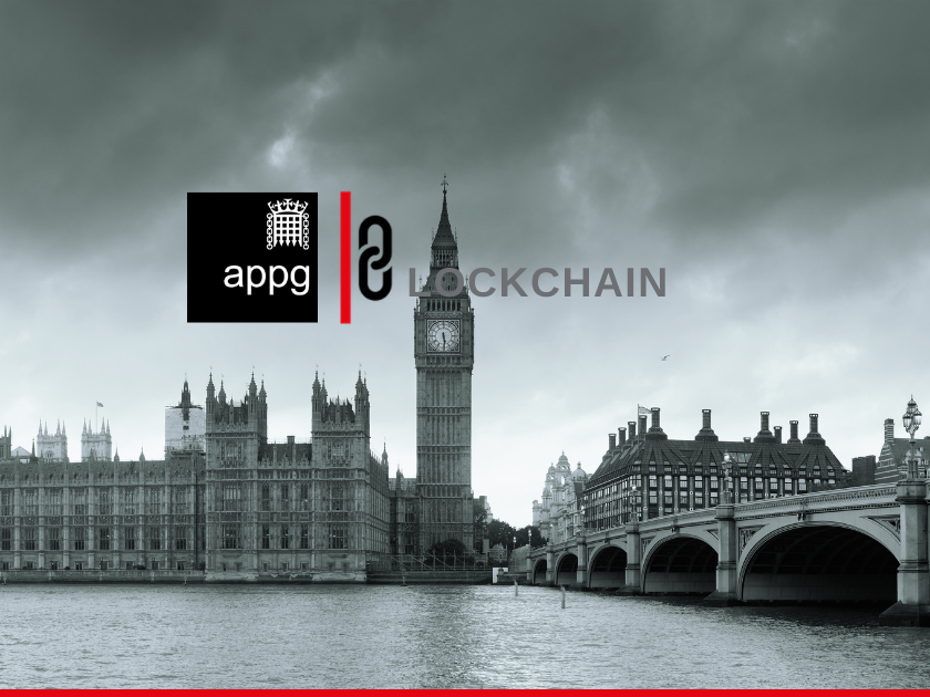 Big Ben and London cityscape with APPG and Blockchain logos
